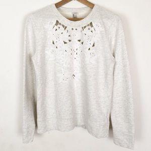 J CREW | lace crew neck sweatshirt